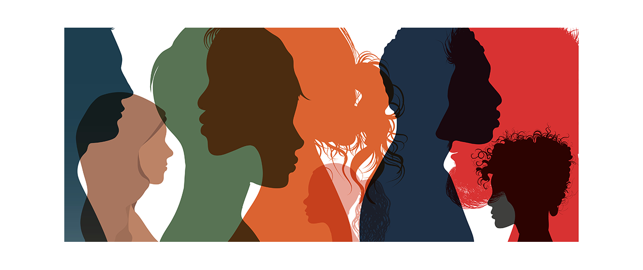 Different color silhouettes of drawn individuals