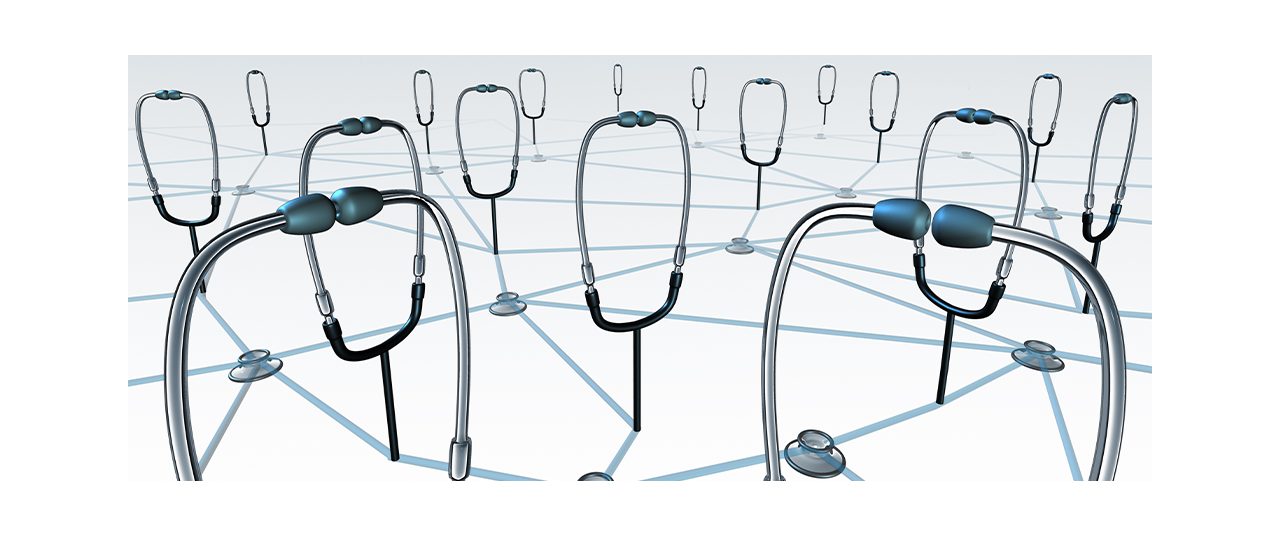 Visual element connecting a network of multiple stethoscopes