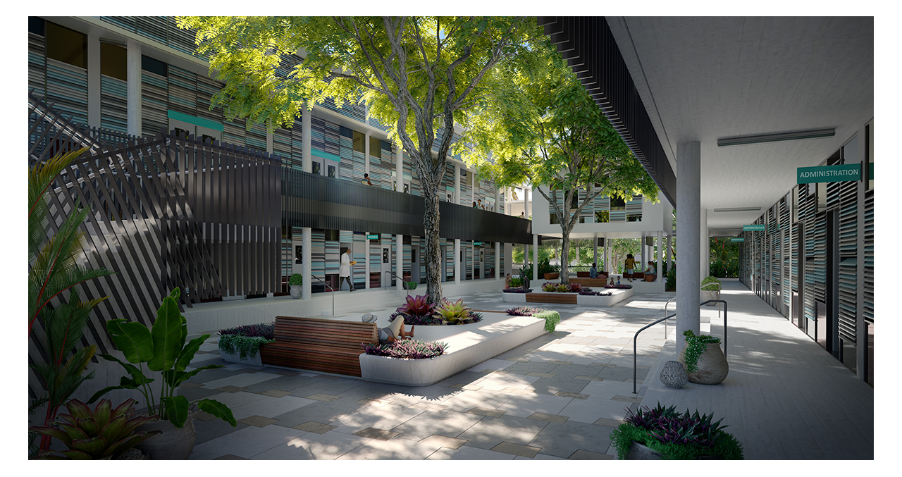 3D Rendering of a sustainable healthcare facility