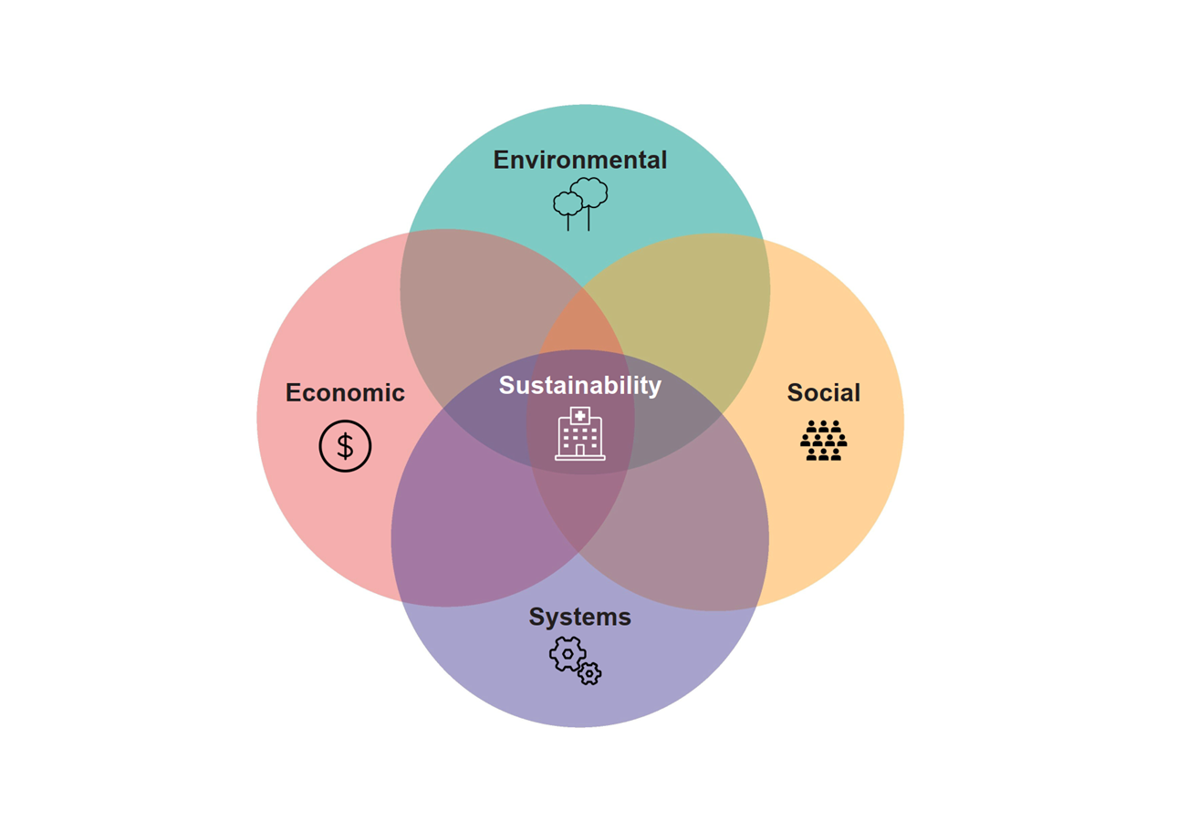 The traditional pillars of sustainability: social, environmental and economic, in addition to systems sustainability in the context of healthcare.