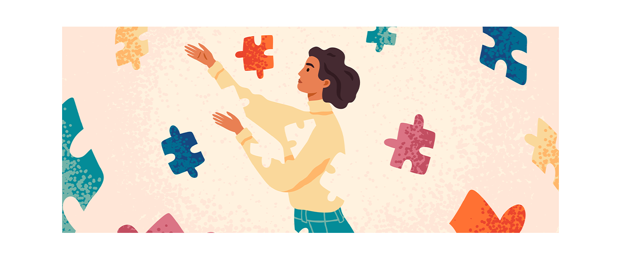 Abstraction of BIPOC woman reaching out for multicolored puzzle pieces