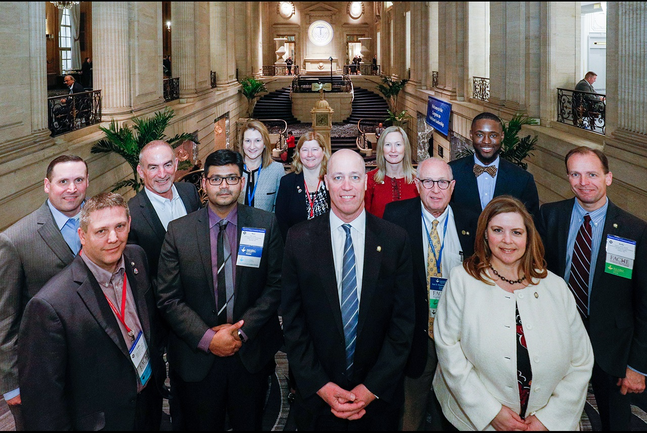 Representatives from award-winning chapters are featured with ACHE Chairman-Elect Michael J. Fosina, FACHE, at the 2019 Congress on Healthcare Leadership during the Chapter Leaders Reception.
