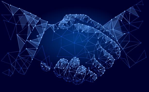 Digital image shaking hands