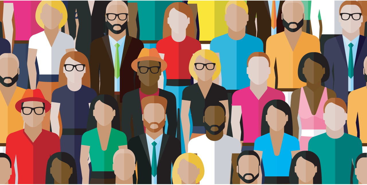 Illustration with a large group of diverse men and women in business attire